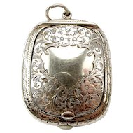 Sterling Silver Compact LOCKET Opens Down PUFF & Mirror 1922