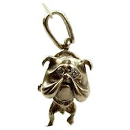 Silver British BULLDOG Charm PENDANT Fob Paste Eyes & Collar