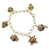 Vintage ETRUSCAN Style 6 Silver Gilt CHARM Bracelet Blue White Enamel