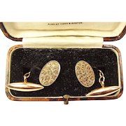 Victorian 9ct Rose Gold CUFFLINKS Engraved and TORPEDO In Original Box 1896