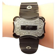 Victorian WHITBY Jet & Silver BUCKLE Elasticated Bracelet