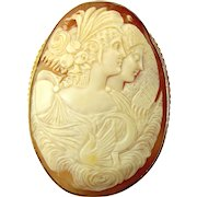 Huge Victorian 9ct Gold Mounted CAMEO Shell Day & Night Original BOX Brooch