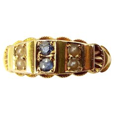 Victorian 15ct Gold Sapphire & Seed Pearl RING Hmk. 1898