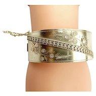 Vintage Silver & 9ct Gold Cuff BRACELET Hallmark 1939
