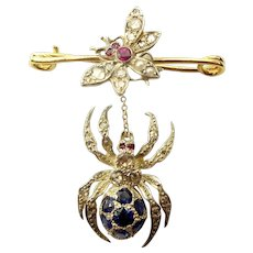 Victorian SPIDER & FLY Bar Brooch Diamonds Sapphires Rubies & Seed Pearls