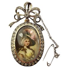 Vintage PORTUGUESE Silver GOLD & Paste LOCKET Hand Painted Lady Brooch/Pendant
