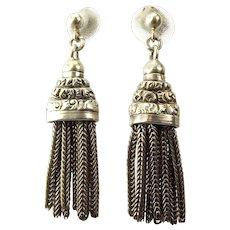 Antique VICTORIAN Sterling Silver TASSEL Earrings
