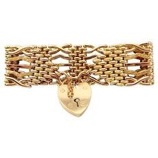 Antique Victorian 9ct Gold GATE Bracelet HEART Shaped Padlock