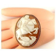 Victorian St George & Dragon CAMEO In Later 9ct Gold Mount