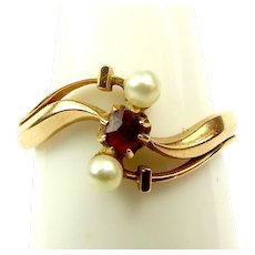 Victorian 18ct Gold Pearl Ruby ENGAGEMENT Ring