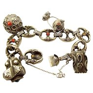 Vintage 800 Silver ETRUSCAN Style 4 Charm Bracelet Coral/Turquoise
