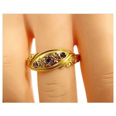 EDWARDIAN 18ct Gold, Sapphire & Diamond RING Chester 1904