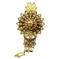 Victorian 9ct Gold Seed Pearl CORAL Diamond Bracelet Secret LOCKET Boxed