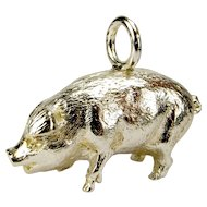 Vintage Silver PIG Pendant FOB Charm Heavy13.1g. Hallmarked.