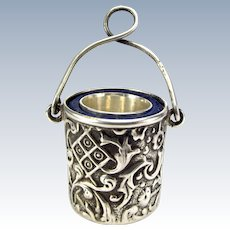 Victorian Silver THIMBLE In Silver Chatelaine Thimble Holder