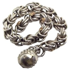 Antique c1900 FRENCH Silver BRACELET (800-900) Gold Overlay & BALL Charm