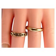 2 Vintage 9ct Gold RINGS Stacking Or Wedding & Eternity