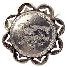 Victorian Silver BIRD Brooch LOCKET Pin Perfect 4 Conversion