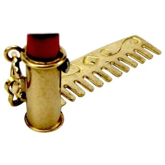 2 Vintage 9ct Gold GROOMING Charms Moving LIPSTICK & Comb