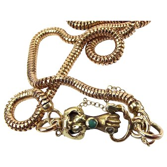 Georgian 9ct Gold HAND & SNAKE Clasp + 9ct Snake Chain