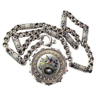 "Victorian Silver & Enamel Pendant 800 Silver COLLAR 17 1/2"""