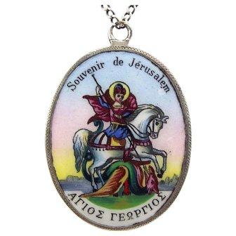 """Vintage Silver & Enamel Souvenir de Jerusalem Pendant 24"""" Chain"""
