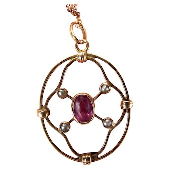 """Victorian 9ct Gold LAVALIER Pendant AMETHYST & Seed Pearl 18"""" Chain"""