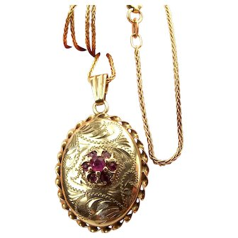 """Vintage 9ct Gold & Ruby LOCKET Opens 16"""" Gold Chain"""