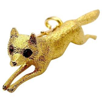 EDWARDIAN 18ct Gold 3 Dimensional FOX Brooch/Pin Ruby EYES