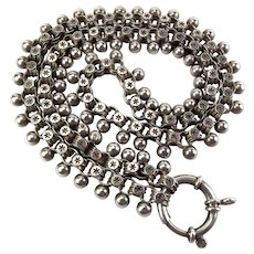 Victorian Silver Book Chain COLLAR & Oversized Bolt Ring Fastener