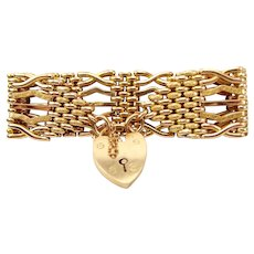 Antique Victorian 9ct Gold GATE Bracelet HEART Shaped Padlock