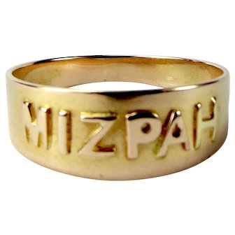 Antique VICTORIAN 18ct Gold MIZPAH Ring Chester 1900