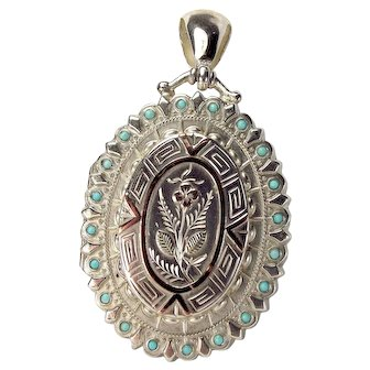 Victorian Turquoise, Sterling Silver & 9ct Gold LOCKET Opens 1883