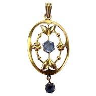 Edwardian 9ct Gold Blue Sapphire Paste LAVALIERE Pendant