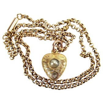 Victorian 15ct Gold Pearl Set HEART Locket Crystal Covered Compartment