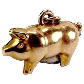 Vintage 1920's 9ct Gold Hollow PIG Charm Fob Pendant