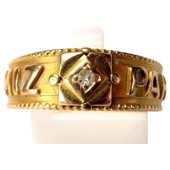 Victorian 18ct Gold DIAMOND Set MIZPAH Ring 1896