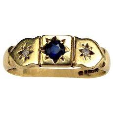 Vintage 9ct GOLD Sapphire & Diamond Dress RING