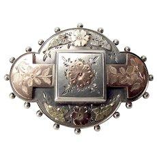 Antique VICTORIAN Silver & Gold LOCKET Pin Brooch 1890
