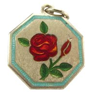 "TLM Thomas L Mott ROSE June ""Flower of the Month"" Sterling Silver and Enamel Charm"