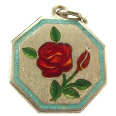 """TLM Thomas L Mott ROSE June """"Flower of the Month"""" Sterling Silver and Enamel Charm"""