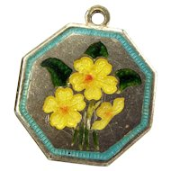 "TLM Thomas L Mott PRIMROSE February ""Flower of the Month"" Sterling Silver and Enamel Charm"