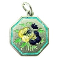TLM Thomas L Mott PANSY May 'Flower of the Month' Sterling Silver and Enamel Charm
