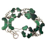 Victorian Sterling Silver Scottish Malachite BRACELET Antique c1860