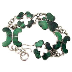 Victorian Scottish Malachite BRACELET Antique c1860