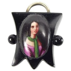 Victorian Whitby JET & Silver Padlock Fastener Hand Painted PORTRAIT
