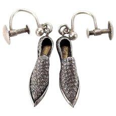 EDWARDIAN Silver Repoussé Floret SHOE Earrings