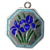 "TLM Thomas L Mott IRIS April ""Flower of the Month"" Sterling Silver and Enamel Charm"
