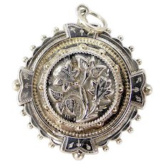 Victorian Silver Repousse LOCKET Back Pendant Brooch Conversion
