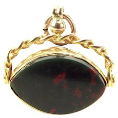 Antique 9ct Gold Charm FOB Pendant Spinning EYE Shaped Carnelian/Blood Stone